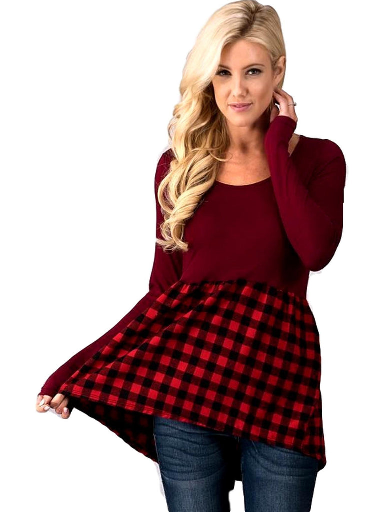Long Sleeve Buffalo Plaid Babydoll Top, Red-LONG SLEEVE-TREND NOTES-Chic Boutique and Gift Emporium