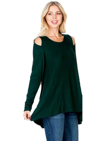 Long Sleeve Cold Shoulder Top, Dark Green-LONG SLEEVE-Azules-Chic Boutique and Gift Emporium