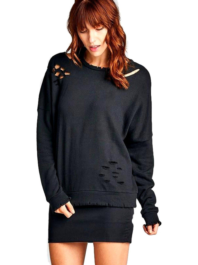 Long Sleeve Distressed French Terry Top, Black-LONG SLEEVE-Active Basic-Chic Boutique and Gift Emporium