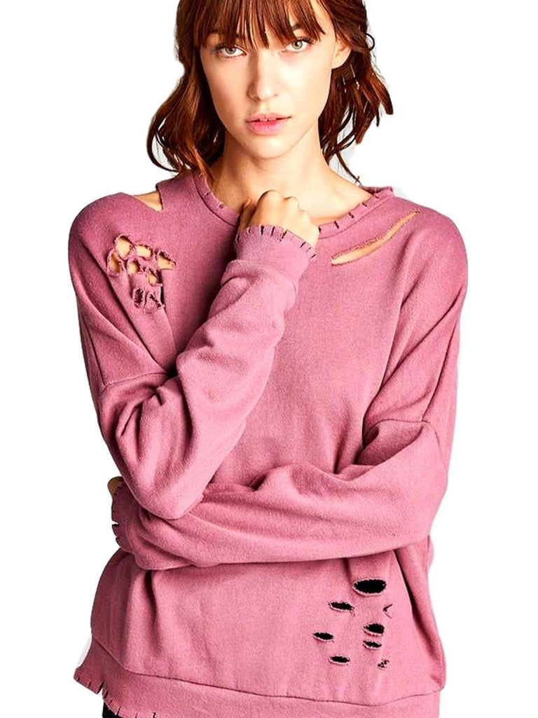 Long Sleeve Distressed French Terry Top, Dawn Pink-LONG SLEEVE-Active Basic-Chic Boutique and Gift Emporium