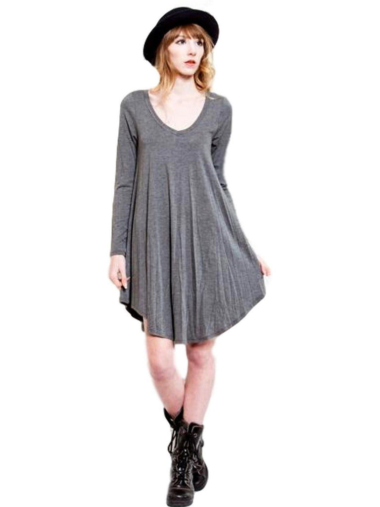 Long Sleeve Flared Tunic Dress, Grey-Flash Sale-Reborn J-Chic Boutique and Gift Emporium