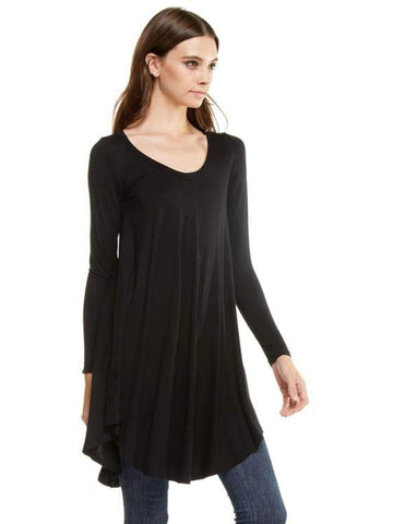 Long Sleeve Ribbed Flared Bottom Tunic Dress, Black (Size M)-Flash Sale-Reborn J-M-Black-Chic Boutique and Gift Emporium