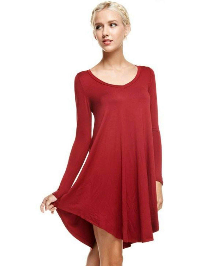 Long Sleeve Ribbed Flared Bottom Tunic Dress, Burgundy (Size L)-Flash Sale-Reborn J-L-Burgundy-Chic Boutique and Gift Emporium