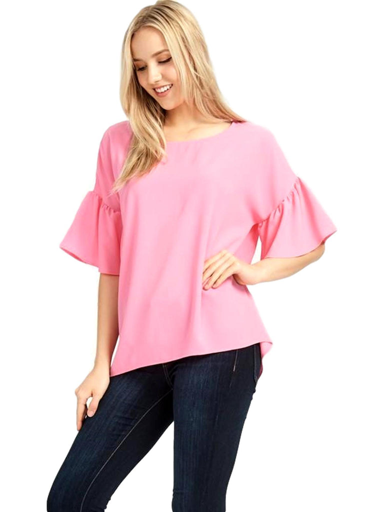 Loose Fit Bell Sleeve Top, Pink-SHORT SLEEVE-Red Lolly-Chic Boutique and Gift Emporium