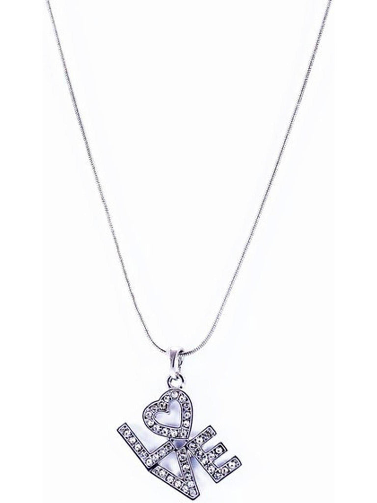 """LOVE "" Pendant NeckLace, Silver-NECKLACES-Cool Cat Designers-OS-Silver-Chic Boutique and Gift Emporium"
