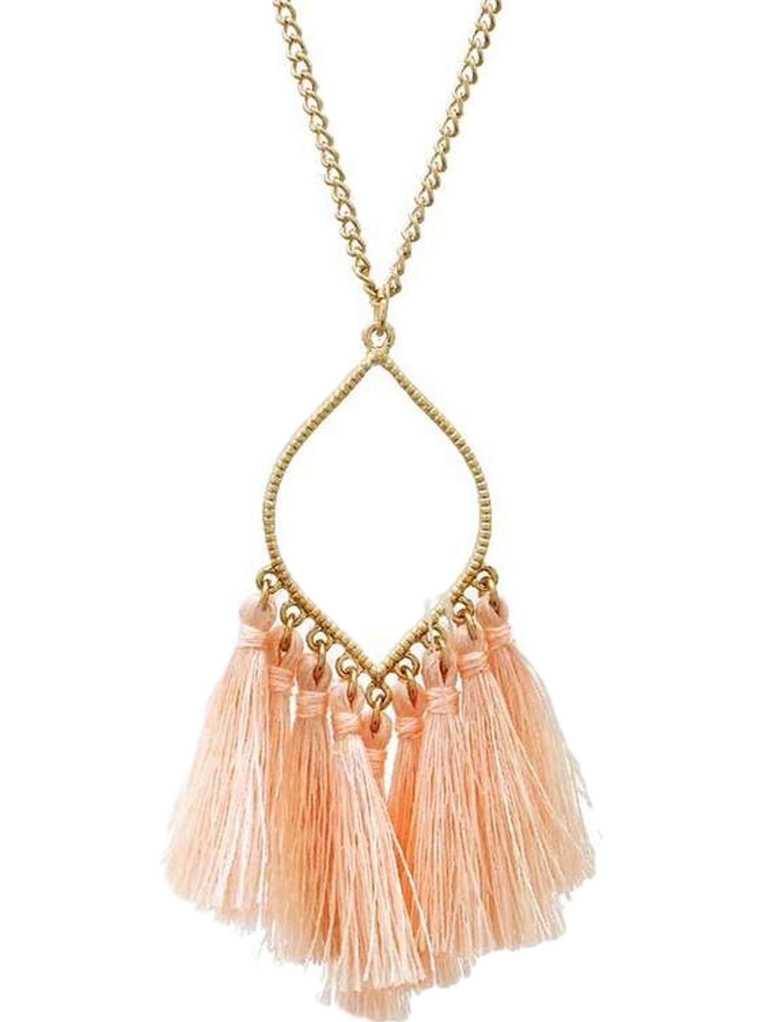 white leather us tassel necklace icing faux