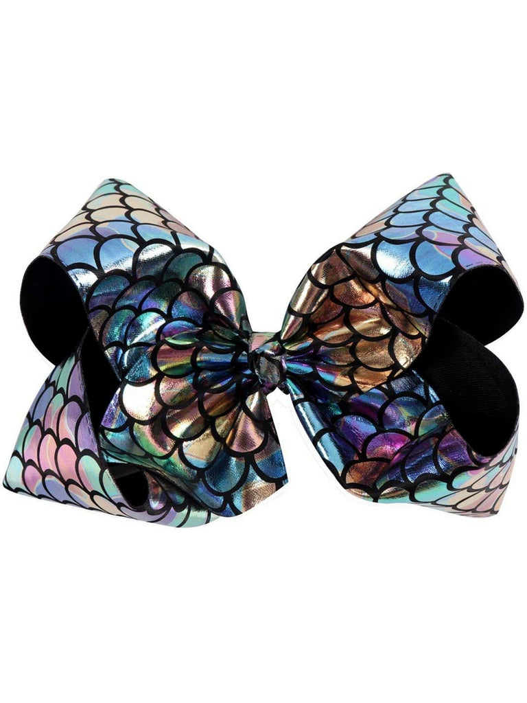 "Mermaid 8"" Hair Bow, Rainbow-Black-BOUTIQUE BOWS-Hana-OS-Black-Chic Boutique and Gift Emporium"
