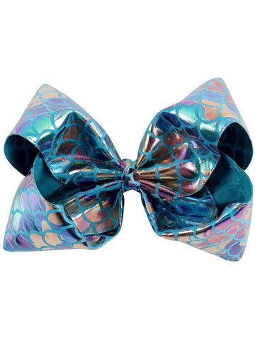 "Mermaid 8"" Hair Bow, Rainbow-Blue-BOUTIQUE BOWS-Hana-OS-Blue-Chic Boutique and Gift Emporium"