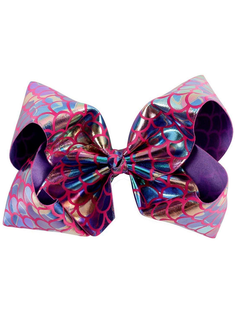 "Mermaid 8"" Hair Bow, Rainbow-Pink-BOUTIQUE BOWS-Hana-OS-Pink-Chic Boutique and Gift Emporium"