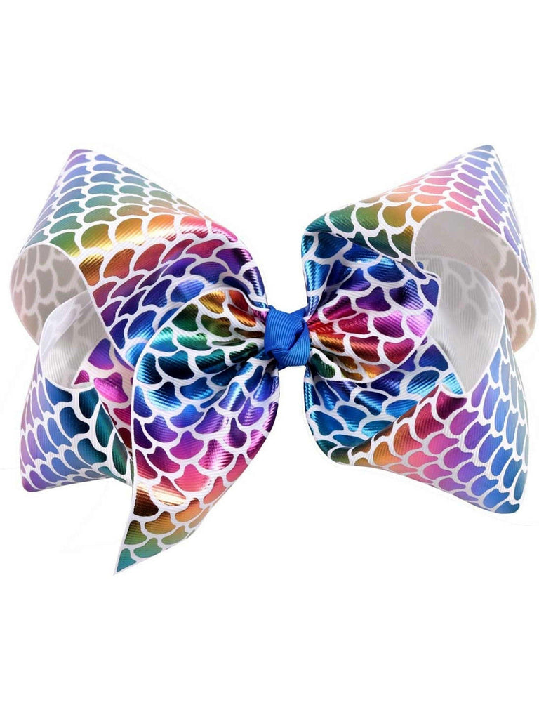 "Mermaid 8"" Hair Bow, Rainbow-White-BOUTIQUE BOWS-Hana-OS-White-Chic Boutique and Gift Emporium"