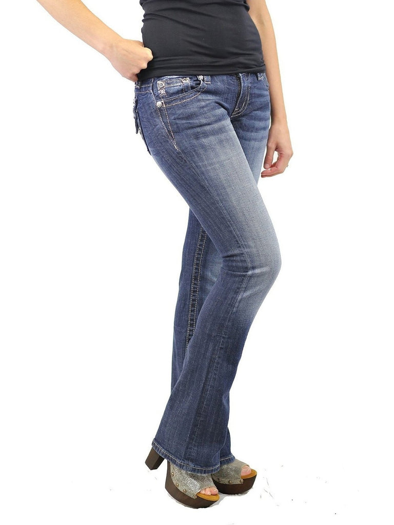 Miss Me-Jazzy Diamond Cross Bootcut-MISS ME-Miss Me-27-Medium Wash Denim-Chic Boutique and Gift Emporium