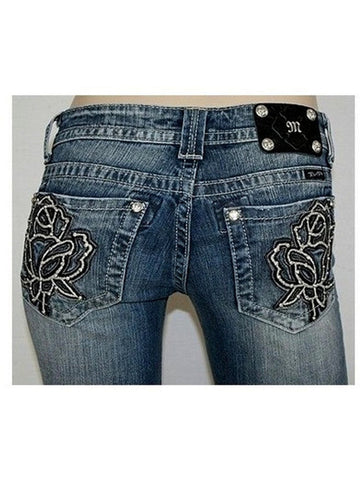 Miss Me-Leather And Embroidered Rose-MISS ME-Miss Me-26-Dark Wash Denim-Chic Boutique and Gift Emporium