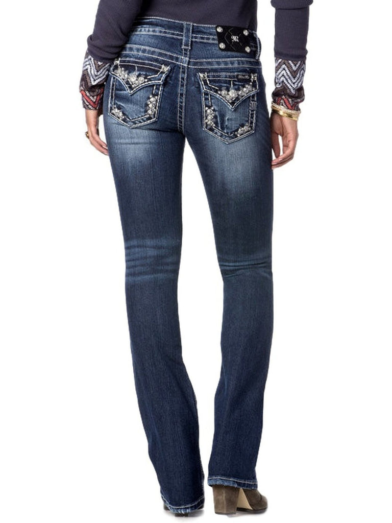 Miss Me-Mid Rise Embellished Pixie Boot Cut Jeans-MISS ME-Miss Me-26-Dark Wash Denim-Chic Boutique and Gift Emporium