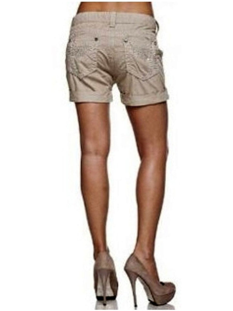 Miss Me Shorts-Signature Floating Wing-MISS ME-Miss Me-26-Khaki-Chic Boutique and Gift Emporium
