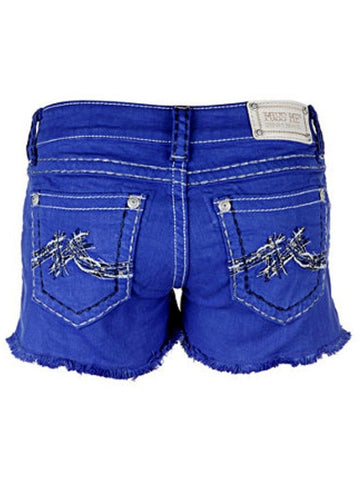 "Miss Me Shorts-Signature ""M"" Frayed (Size 25)-MISS ME-Miss Me-26-Royal Blue-Chic Boutique and Gift Emporium"