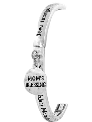 """Mom's Blessing"" Charm Bracelet, Antique Silver-BRACELETS-ARTBOX-""Mom's Blessing"" Charm Brac,ASi-Antique Silver-Chic Boutique and Gift Emporium"