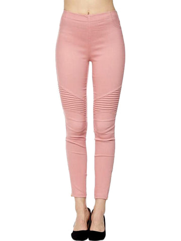 Moto Pants with Zipper on Bottom, Light Mauve-PANTS-2NE1 APPAREL-Chic Boutique and Gift Emporium