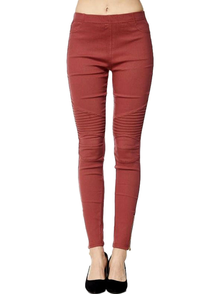 Moto Pants with Zipper on Bottom, Marsala-PANTS-2NE1 APPAREL-Chic Boutique and Gift Emporium