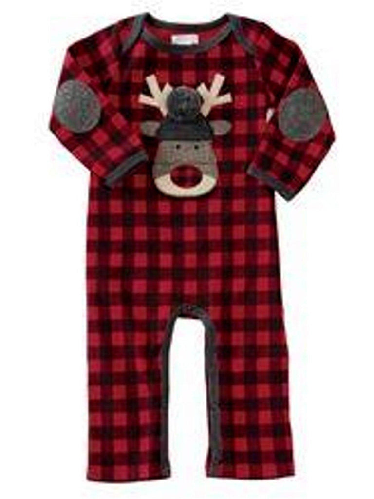 Mud Pie-Buffalo Check Reindeer One Piece, Multi-Chic's Christmas Collection-Mud Pie-Chic Boutique and Gift Emporium