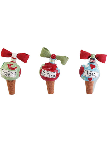 Mud Pie-Christmas Wine toppers, Multi-CHRISTMAS GIFTS-Mud Pie-OS-Multi-Chic Boutique and Gift Emporium