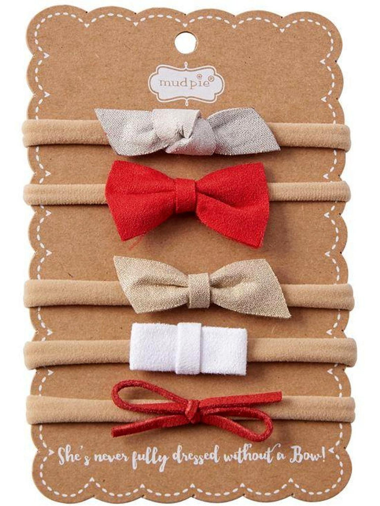 Mud Pie-Holiday Leather Bow Headband Set-MUDPIE INFANT GIRLS-Mud Pie-OS-Multi-Chic Boutique and Gift Emporium