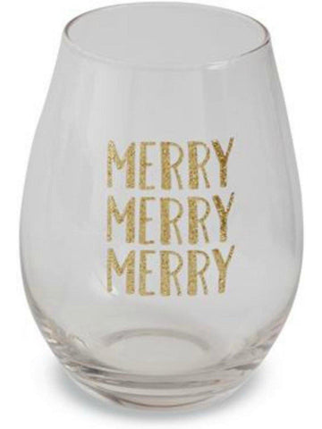 "Mud Pie-Holiday Stemless Glass, ""MERRY MERRY MERRY"", Multi-CHRISTMAS GIFTS-Mud Pie-16 oz-Multi-Chic Boutique and Gift Emporium"