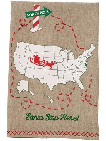 "Mud Pie-Santa Stops Here Towel-CHRISTMAS GIFTS-Mud Pie-20"" x 14""-Multi-Chic Boutique and Gift Emporium"