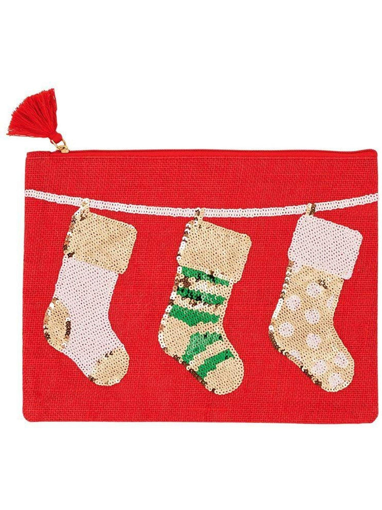 "Mud Pie-Stocking Christmas Case, Red-CHRISTMAS GIFTS-Mud Pie-9"" x 12""-Red-Chic Boutique and Gift Emporium"