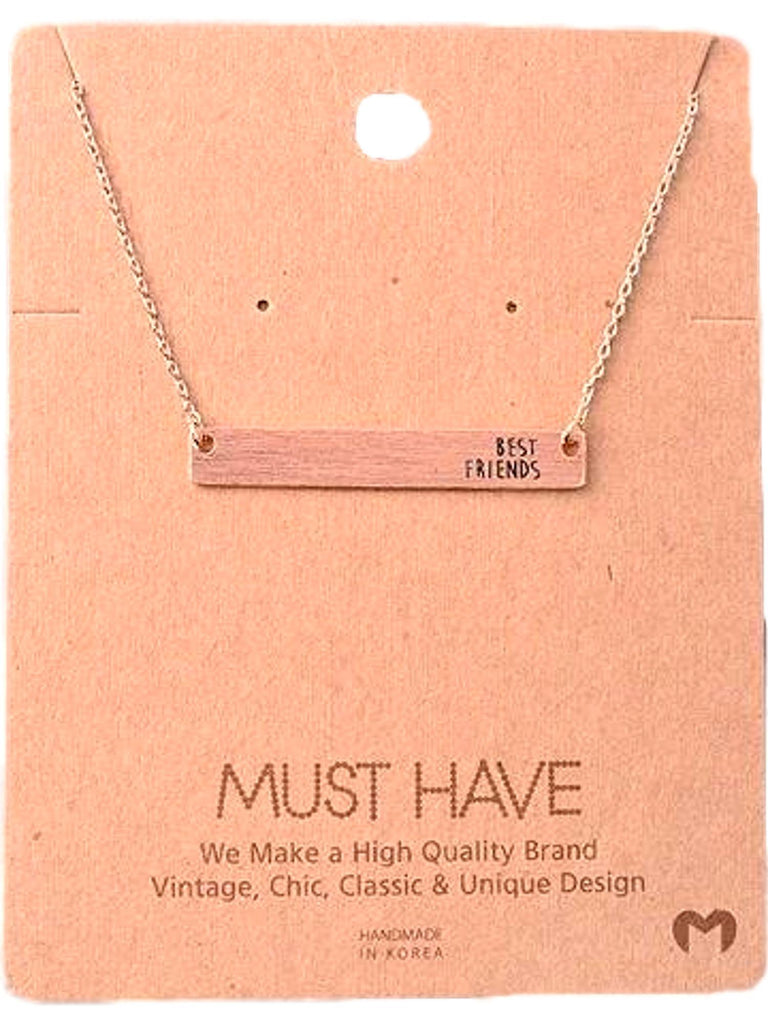 Must Have-Best Friends Bar Necklace, Rose Gold-NECKLACES-fame-16 inch-Rose Gold-Chic Boutique and Gift Emporium