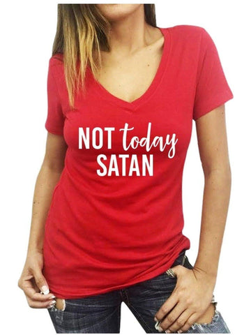 """Not Today Satan!"" V-neck Tee, Red-SHORT SLEEVE-Forever Trendy-Chic Boutique and Gift Emporium"