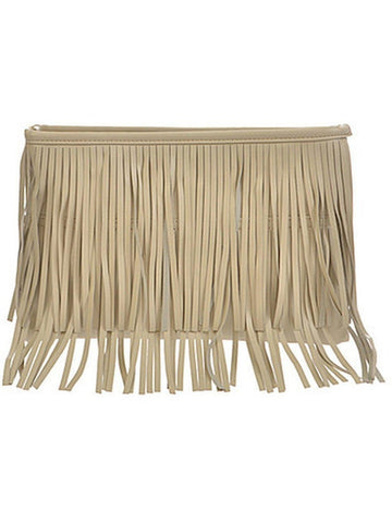 One Sided Fringe Clutch, Beige-HANDBAGS-anzell-OS-Beige-Chic Boutique and Gift Emporium