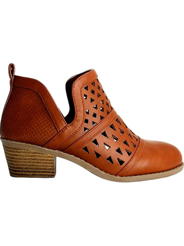 Our Chic Short Pattern Bootie, Tan-BOOTIES-Golden Asia-Chic Boutique and Gift Emporium