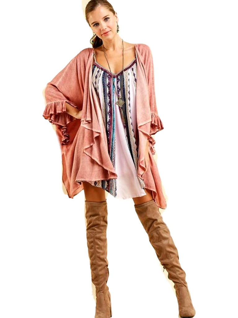Oversized acid-wash kimono Cardigan, Salmon-CARDIGANS-ENTRO-Chic Boutique and Gift Emporium