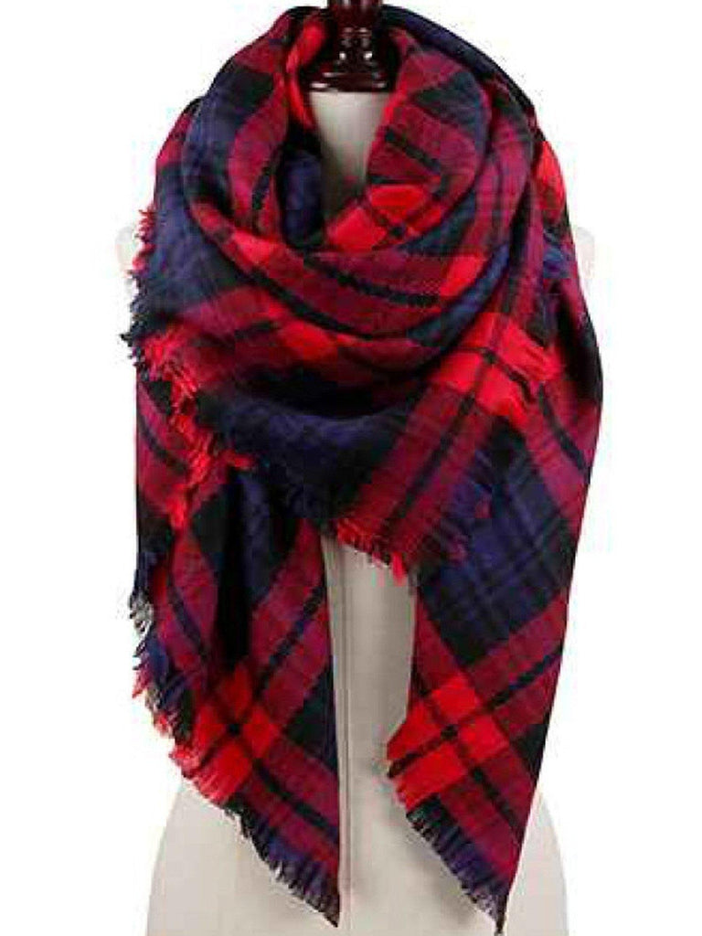 Plaid Blanket Scarf, Red-SCARFS-H & R Jewelry-OS-Red-Chic Boutique and Gift Emporium
