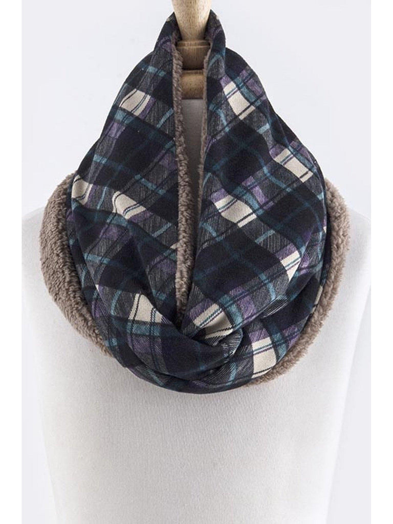 Plaid Fleece Infinity Scarf, Blue-SCARFS-PJEE HANDBAGS-OS-Blue-Chic Boutique and Gift Emporium