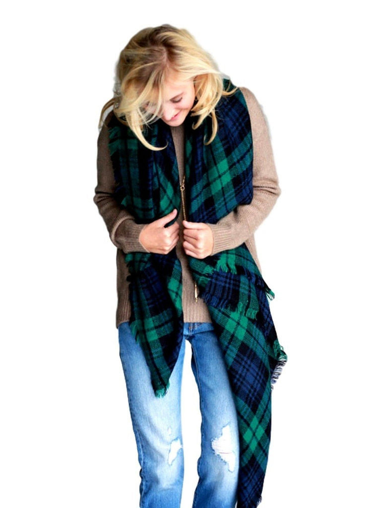 Plaid Square Blanket Scarf, Green-SCARFS-Urbanista-OS-Green-Chic Boutique and Gift Emporium