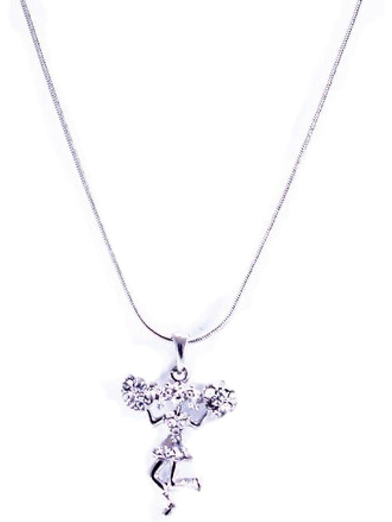 """Pom Pom Girl"" Pendant Necklace, Silver-NECKLACES-Cool Cat Designers-OS-Silver-Chic Boutique and Gift Emporium"