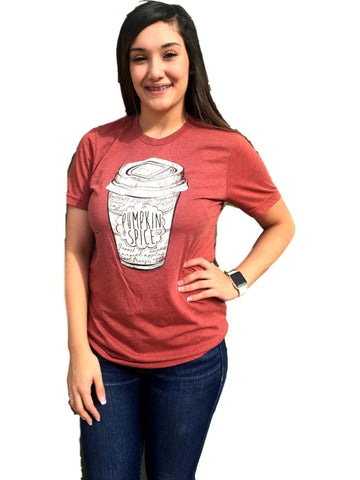 Pumpkin Spice Tee, Clay-GRAPHIC TOPS-Texas True Threads-Chic Boutique and Gift Emporium