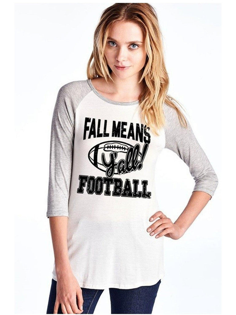 Raglan Tee-Fall Means Football Y'all, Heather Gray-GRAPHIC TOPS-colorbear-Chic Boutique and Gift Emporium