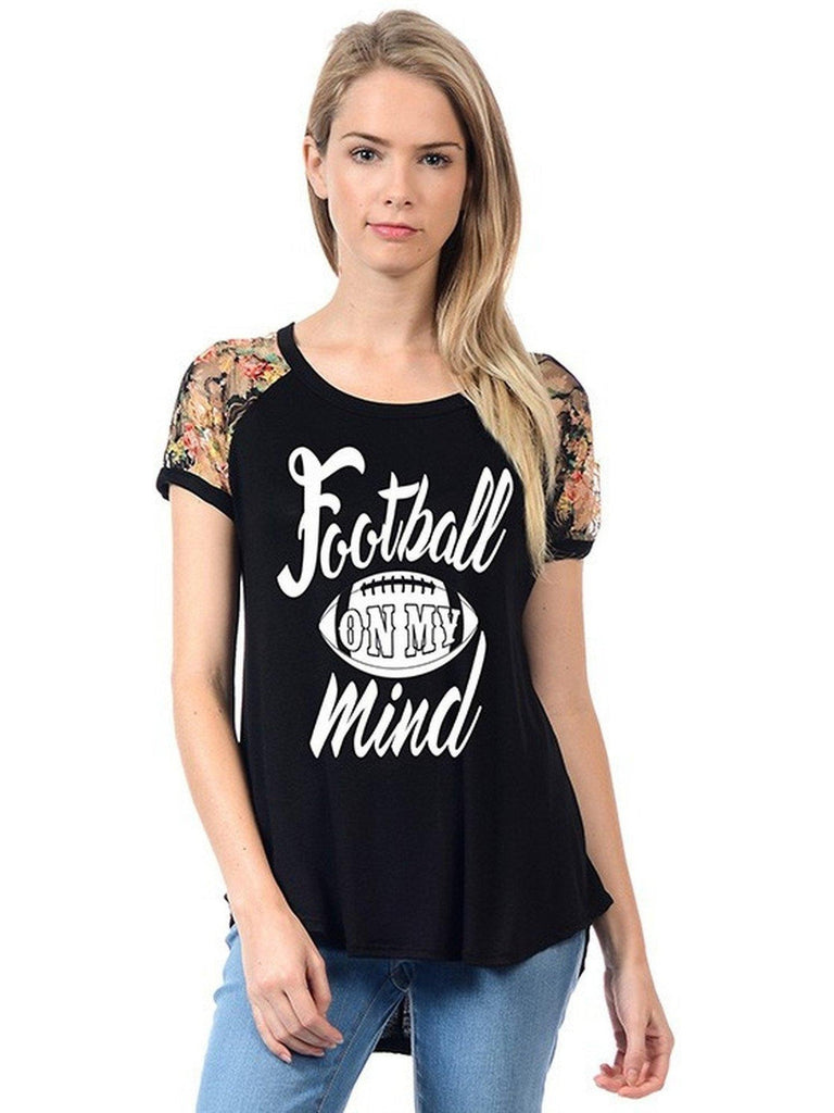 Raglan Tee-Football Mind, Black-GRAPHIC TOPS-Timeline Fashion-Chic Boutique and Gift Emporium
