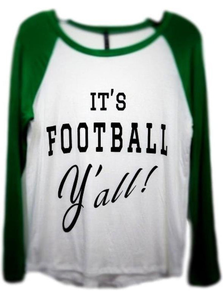 Raglan Tee-Its Football Yall, Ivory-Kelly Green-GRAPHIC TOPS-Triumph-S-Ivory-Kelly Green-Chic Boutique and Gift Emporium