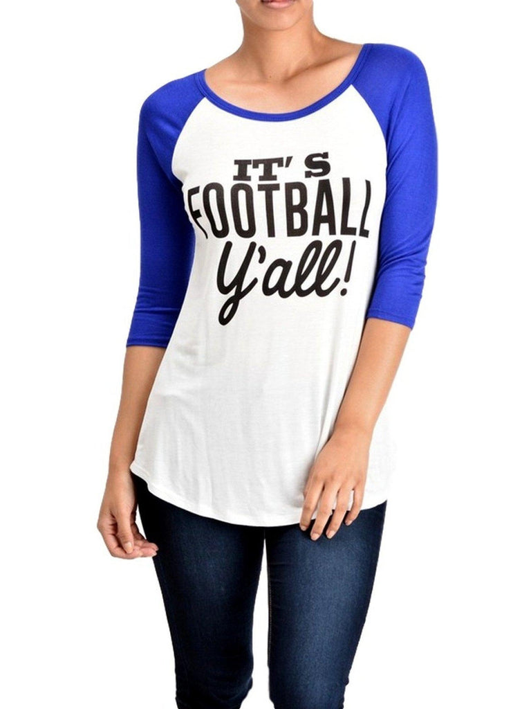 Raglan Tee-Its Football Yall-Teal-Ivory-GRAPHIC TOPS-Lovely Souls-Chic Boutique and Gift Emporium