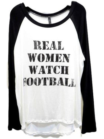 Raglan Tee-Real Women Watch Football, Ivory-Black-GRAPHIC TOPS-Triumph-Chic Boutique and Gift Emporium