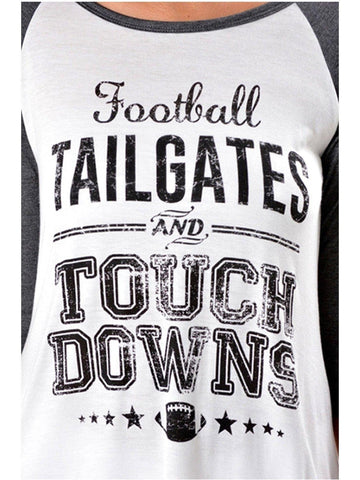 Raglan Tee-Tailgates,Touch..Charcoal-Ivory-GRAPHIC TOPS-Lovely Souls-Chic Boutique and Gift Emporium