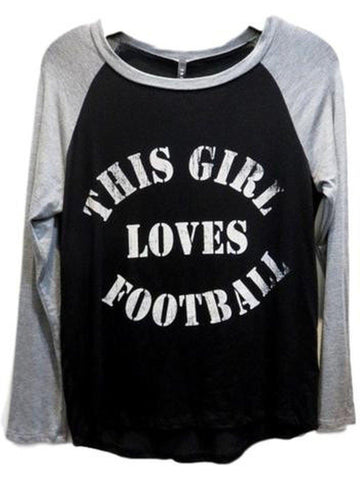 Raglan Tee-This Girl Loves Football, Black-Heather Grey-GRAPHIC TOPS-Triumph-Chic Boutique and Gift Emporium