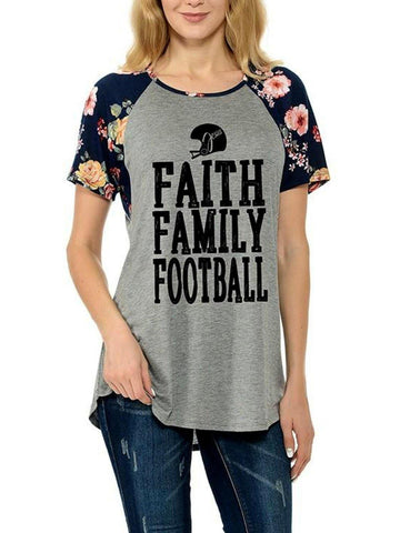 "Raglan Tee with Florat Print Short Sleeves-""Faith, Family,Football, Heather Grey-GRAPHIC TOPS-Timeline Fashion-Chic Boutique and Gift Emporium"