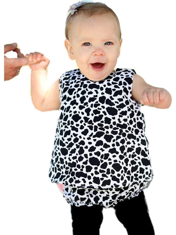 Ruffle Butts-Cow Print Swing Top Set, Black-White-Flash Sale-RUFFLE BUTTS-3-6 Mths-Black-White-Chic Boutique and Gift Emporium