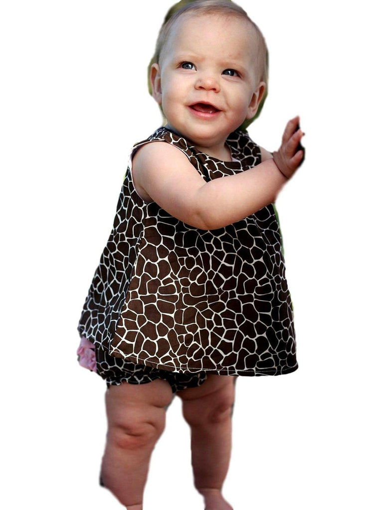 Ruffle Butts-Giraffe Print Swing Top Set, Brown-White-Flash Sale-RUFFLE BUTTS-6-12 Mths-Brown-White-Chic Boutique and Gift Emporium