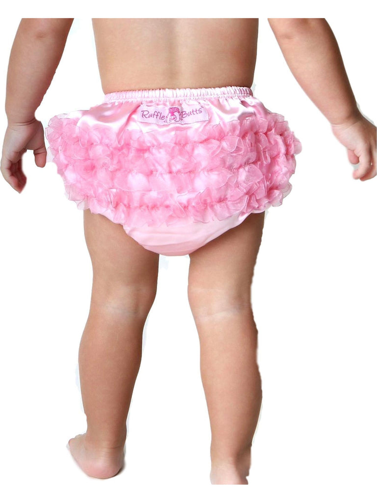 Ruffle Butts-Satin RuffleButts, Pink-BABY GIRLS ONESIE-RUFFLE BUTTS-12-18 Mths-Pink-Chic Boutique and Gift Emporium