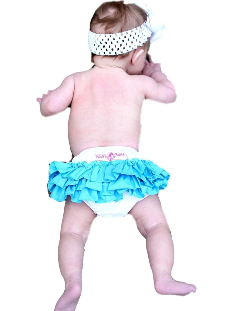 Ruffle Butts-White with Ocean Blue Wave Rufflebutt, White-Blue-BABY GIRLS ONESIE-RUFFLE BUTTS-Chic Boutique and Gift Emporium
